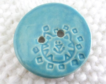 4.5 cm button - ceramic button - turquoise button - cat button - 1 3/4 inch - 1 3/4""
