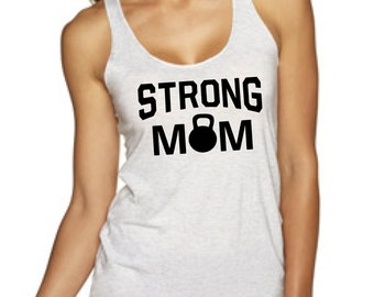 STRONG MOM, workout tank top, gym tank top, dumbbell tank, workout shirt, workout tank, gym tank, fitness tank, Mother's Day