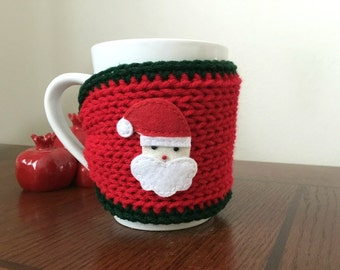 knitted cozy mug sweater sleeve Christmas gift or for you