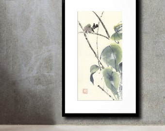 Original Painting of Small Bird in Reeds Chinese Brush
