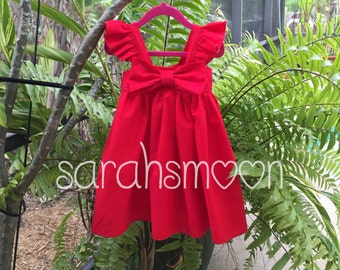 ROSES ARE RED Big Bow Sundress Dress with Flutter Sleeves (Newborn-5T) Big Bow, Newborn, Toddler