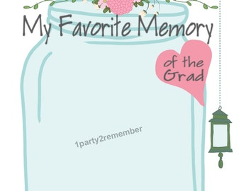 My Favorite Memory of the Grad Printable Cards for Graduation Parties - DIY, Mason Jar, Graduation Games, Barn, Graduation Party Decor