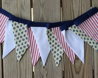Nautical Fabric Banner. Patriotic Pennant Bunting. Americana. Crab Boil. New England. Coastal Decor. Red White Blue. Labor Day Garland.