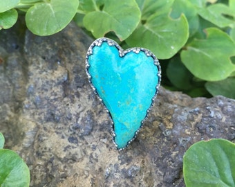 Turquoise Heart Ring, Chrysocolla Ring, Green Stone Ring, Big Heart Ring, Sterling Silver Statement Ring, Big Bold Jewelry, Ring Size 6