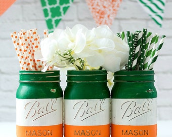 Irish Flag Mason Jar Vases - Painted, Distressed Irish Flag Jars - St Patrick Day Decor