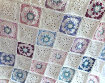 Crochet Multi-Colored Rosebud Afghan - Rose Afghan/Throw