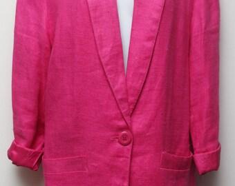 """80s Vintage """"RAFAELLA"""" Dark Pink Boyfriend Blazer Sz: 8 (Small)"""
