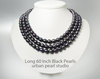 Long Black Pearl Necklace, 60 Inch Necklace, Large Black Pearls, Long Pearl Necklace, Multi Strand Pearls, BP423