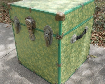 Metal Storage Chest Trunk Locker Cube Covered in Flower Wallpaper Shelf Paper Bedside Table Lamp Table Storage Box