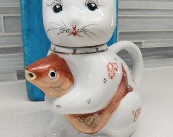 Vintage Cat Creamer Holding Koi Fish