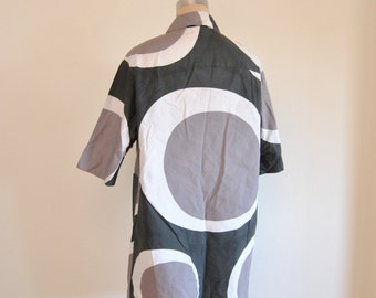 Rare Marimekko Annika Rimala Dress 60s Vintage Black Gray White Brown Kruuna Medium 36