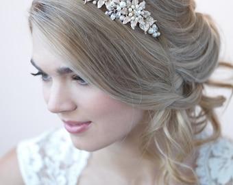 Gold Bridal Headband, Floral Wedding Headband, Bride Headband, Pearl Headband, Flower Headband, Gold Headband, Gold Headpiece ~TI-3259-G