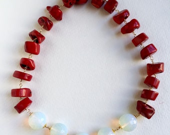 Red Coral and Opalite Statement Necklace by KarenWhalenDesigns