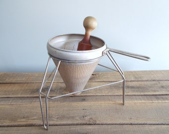 Cone Shaped Colander with Wood Pestle and Metal Stand