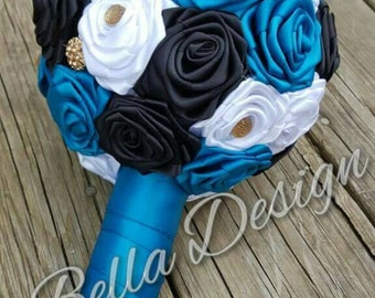 Black, White and Turquoise Teal Ribbon Rose Bridal Bouquet with Gold Rhinestones and Pearls | Fabric Wedding Flowers for Bridal Party |