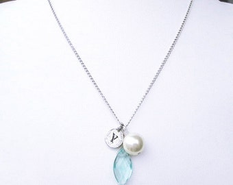 """Y pearl charm necklace with march pastel blue birthstone necklace, personalized necklace gifts, silver """"Y"""" letter coin jewelry necklace gift"""