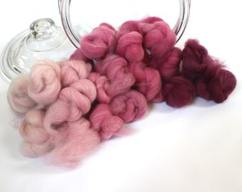 2.9oz Spinning Fiber Gradient Battlings Batt Merino Roving Dyed Wool Spinning Fiber Indie