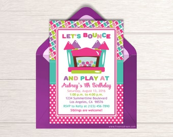 Girls Bounce House Birthday Invitation - Printable Jump Party Invitation - Trampoline Birthday Invite - Bouncy House Birthday Package - BP09