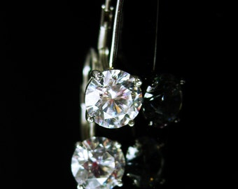 7 1/2 ct Cz sterling Earrings bright DIAMOND like dazzling pierced 60th 75th anniversary wedding collection Dazzling brilliance