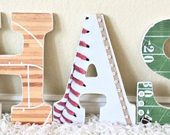 Sport themed Nursery Baby Boy Name, Wooden Wall Letters -Football,  Personalized Baby Gift,