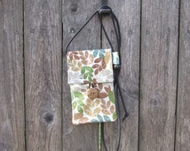 About Town Bag - cross body bag - party purse - travel bag - small cotton purse - passport holder - phone carrier - woodland leaves brown