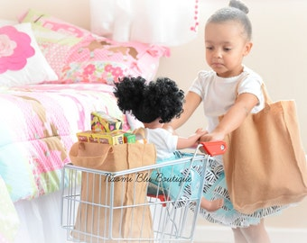 Naomi Blu PLAY Felt Brown Paper Grocery Bags for pretend play. Set of 2 Large Bags. Classroom, Playroom, Sensory