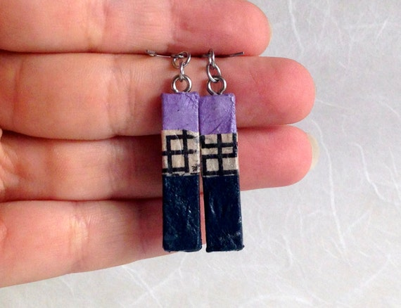 Navy Mauve Striped Hanji Paper Earrings OOAK Patchwork Purple Beige Blue Hypoallergenic Dangle Earrings Lightweight Small Paper Earrings