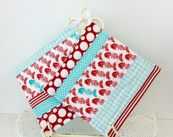Scrappy Diva Hot Pads - Catch of the Day Quilted Pot Holders - Kitchen Hot Pads