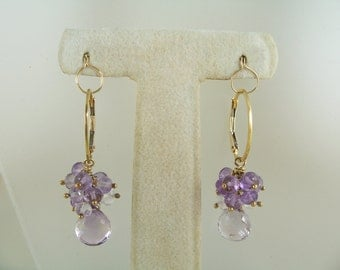 Pink amethyst briolette earrings AAA cluster 14k gold filled oval interchangeable leverbacks gemstone handmade item 245