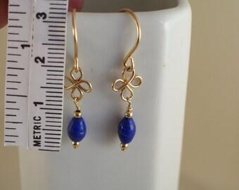 Blue glass 14k gold filled clover earrings handmade MLMR item 896