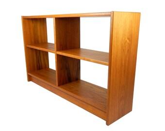 Mid Century Modern Teak Bookshelf Low Bookcase Small Short Shelf Adjustable Shelves Storage Shelving Room Divider Teak Furniture Retro Decor
