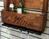 Free Shipping!! Outdoor, Indoor Bar Furniture Upcycled Wooden Pallet Wine, Liquor Rack and Glass Holder Wall Hanging. Rustic, Farm Decor.