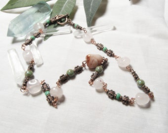 Gemstone Necklace Beaded Rose Quartz Czech Glass Necklace Copper Wire