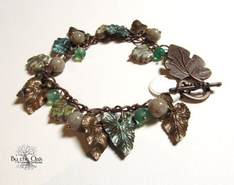 Leaf bracelet Nature Jewelry Leaves Czech Glass Beaded Dangle Charm Bracelet Gemstones