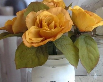 Beautiful Yellow Roses Flower Pens with Mason Jar Vase