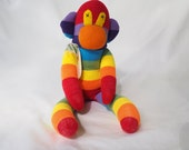 Sock monkey, sock animal, soft plush toy monkey, bright stipes. Monique Monkey.