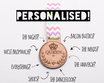 Personalised 'Queen of..' Wooden Medal - personalised gift