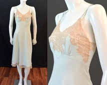 ONE SALE Vintage 1930s 1940s Heavenly Silk Lingerie by Fischer Mint Silk CHARMEUSE & Ecru Lace Full Slip Gown Nightgown Chemise