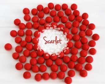 Wool Felt Balls - Size, Approx. 2CM - (18 - 20mm) - 25 Felt Balls Pack - Color Scarlet Red-4070 - Felt Pom Poms - 2CM Red Felt Balls - Beads