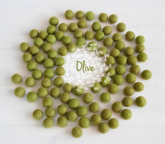 Wool Felt Balls - Size, Approx. 2CM - (18 - 20mm) - 25 Felt Balls Pack - Color Olive-1040 - Olive Green Felt Balls - Olive pom poms - Beads