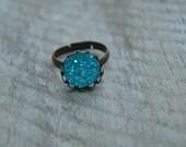 Aqua druzy ring bronze, adjustable faux druzy ring, boho ring turquoise blue druzy ring faux, druzy jewelry