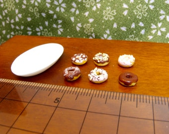 Chocolate and strawberry glazed donuts - 1:12 dollhouse scale miniature dessert