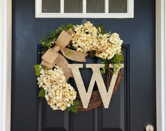 Hydrangea Wreath, Spring Wreath, Monogram Wreath, Front Door Wreath, Cream Hydrangea Wreath, Wedding Decor, Mothers Day Gift, Summer Wreath