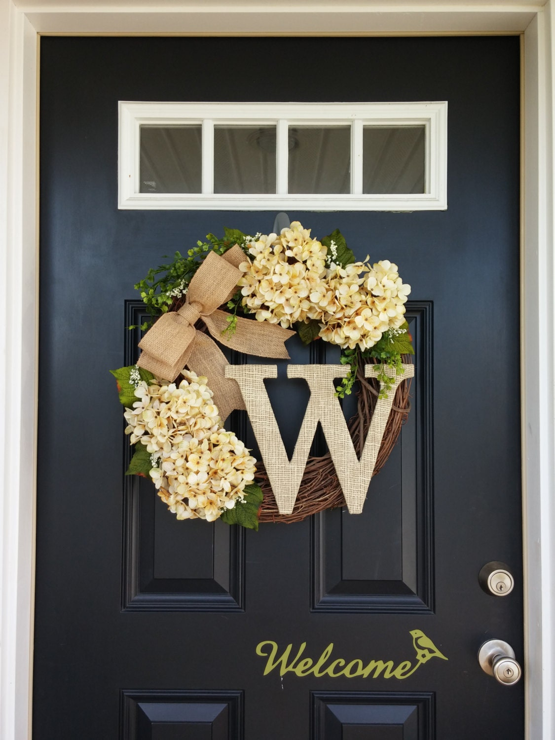 Hydrangea Wreath Spring Wreath Monogram Wreath Front Door