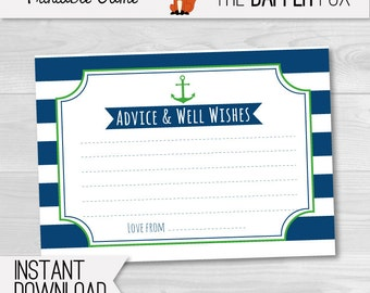 Nautical Baby Shower games Advice Cards - printable - Navy and Green Advice and wishes for baby preppy neutral baby shower game boy