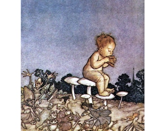 Fairy Fabric Block - Arthur Rackham - Peter Pan in Kensington Gardens - Fairy Orchestra
