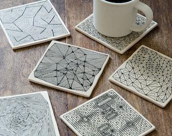 "Wooden coasters ""Geometric"" - set of 6"