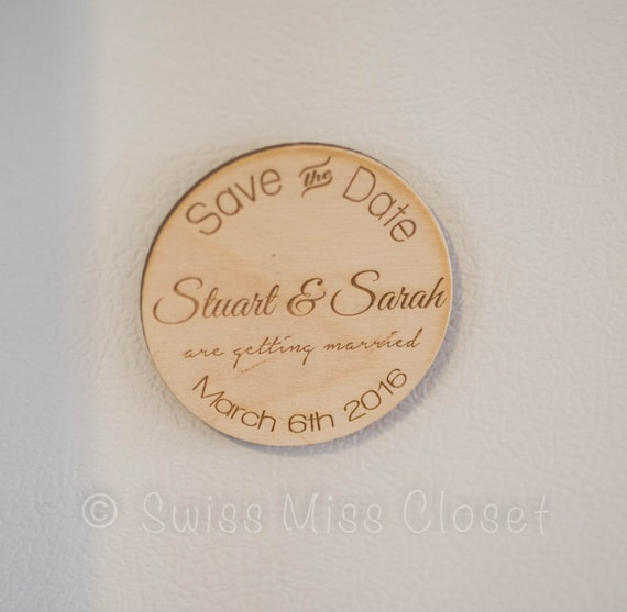 Set of 10 Wooden Save the Date Rustic Engraved Wood Magnets