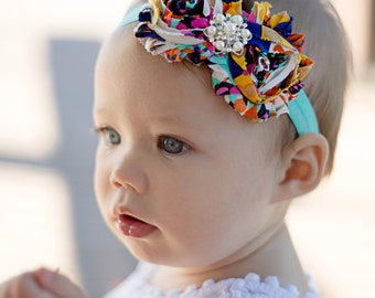Boho Aztec print Headband  Newborn Baby and Toddler girl hair bow shabby chic