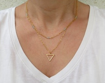 Gold triangle necklace, Double strand necklace, Aquamarine necklace